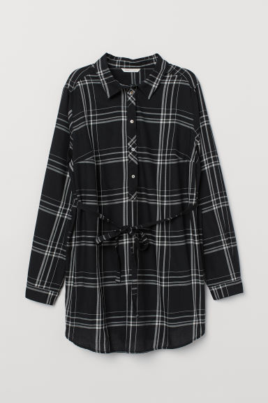 MAMA Cotton tunic - Black/White checked - Ladies | H&M