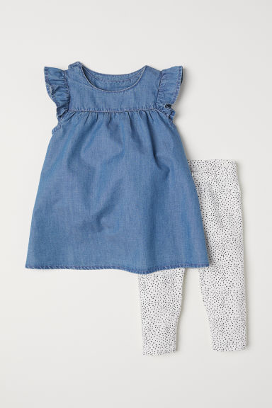 Dress and leggings - Denim blue - Kids | H&M CN