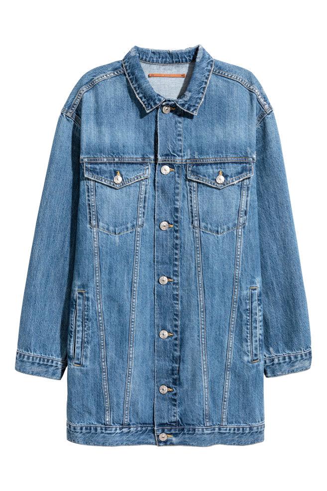 20f32e1d663c Longue veste en jean - Bleu denim foncé - FEMME