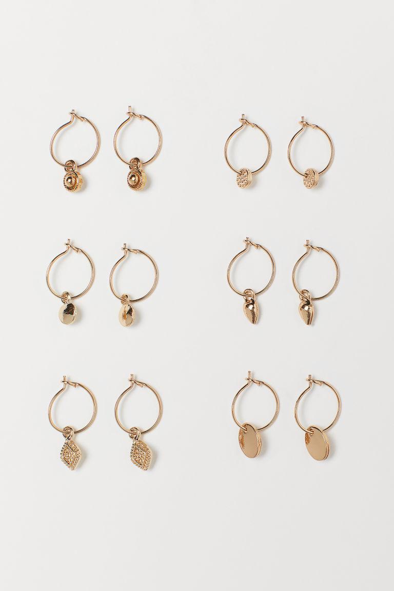 6 Pairs Hoop Earrings - Gold-colored - Ladies | H&M CA