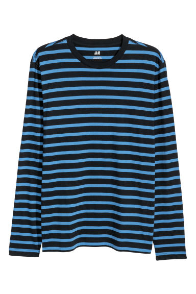 Long-sleeved top Regular fit - Dark blue/Blue striped - Men | H&M