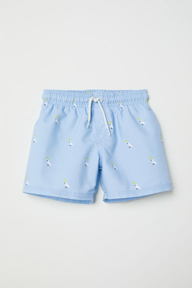 Patterned swim shorts - Light blue/Cockatoo -  | H&M CN