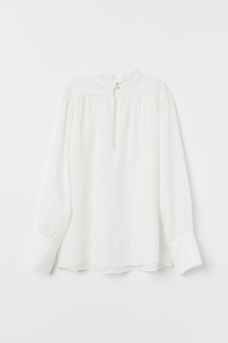 Airy rami blouse - White - Ladies | H&M IN