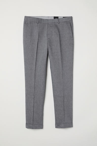 Cropped suit trousers Slim fit - Dark grey marl - Men | H&M CN