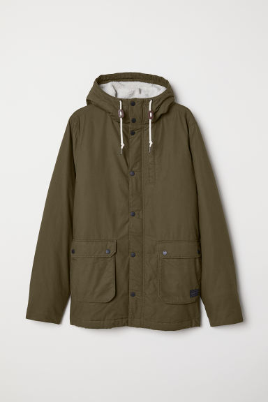 Cotton Parka - Khaki green - Men | H&M US