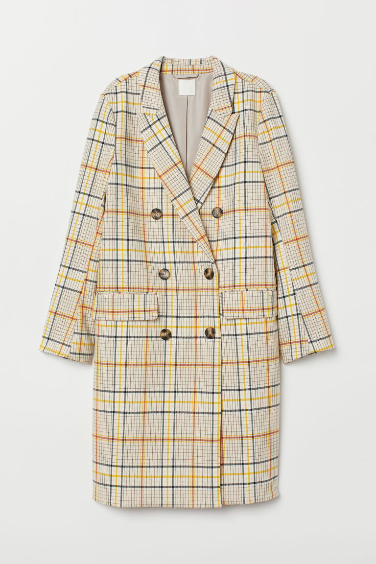 Double-breasted Coat - Beige/checked - Ladies | H&M US