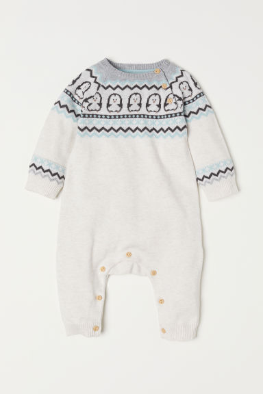 Jacquard-knit all-in-one suit - Light beige marl - Kids | H&M