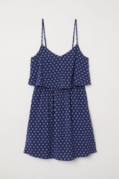 Short dress - Dark blue/Patterned -  | H&M
