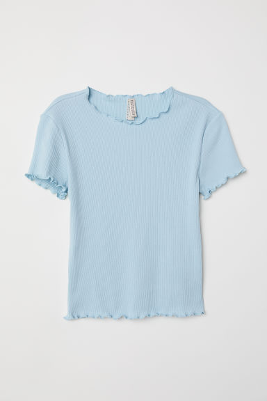 Ribbed jersey top - Light turquoise - Ladies | H&M GB