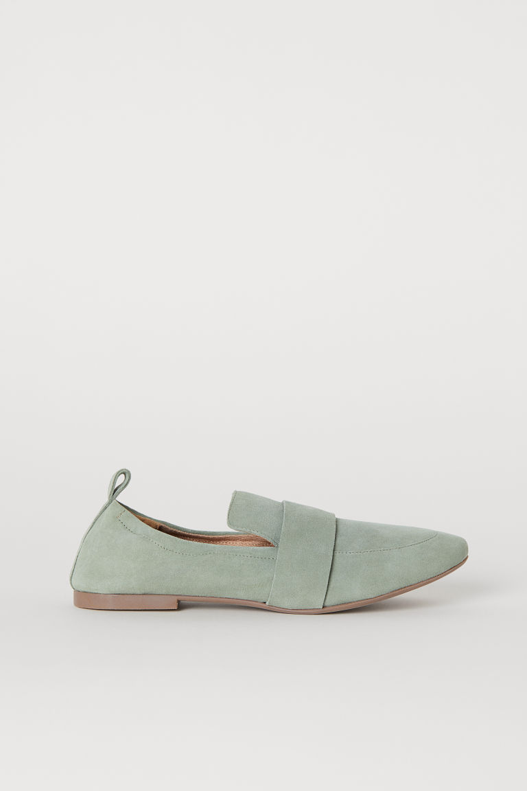 Loafer aus Veloursleder - Mattgrün - Ladies | H&M DE