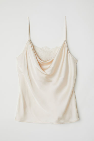 Satin cami with lace - Light beige -  | H&M