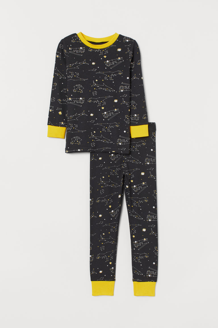 Jersey pyjamas - Black/Constellations - Kids | H&M
