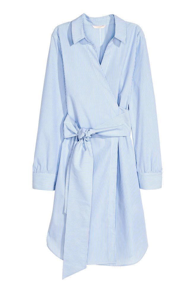 20a610df632f Cotton wrap dress - Blue/White/Striped - Ladies | H&M ...