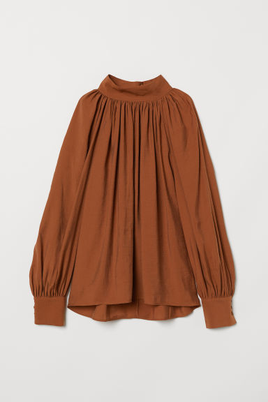 Balloon-sleeved blouse - Dark camel - Ladies | H&M CN