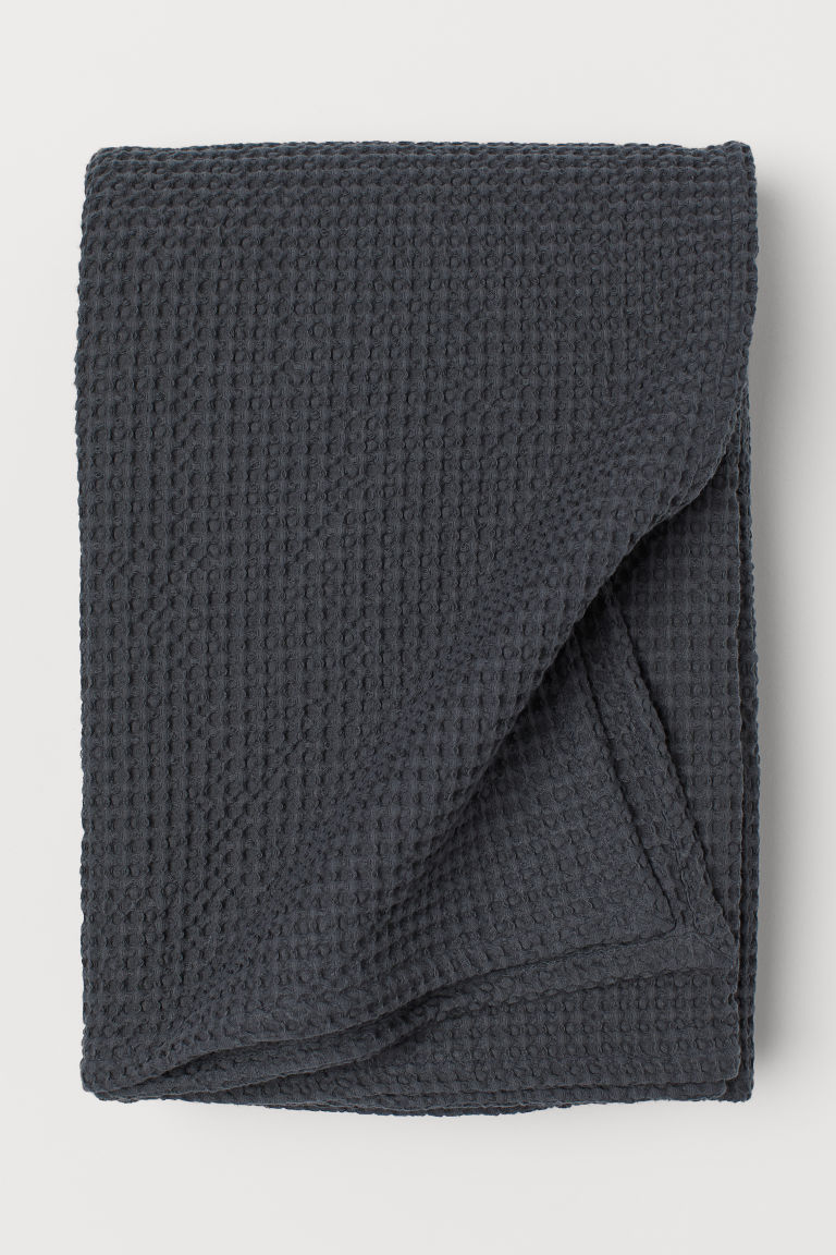 Waffled cotton bedspread - Dark grey - Home All | H&M CN
