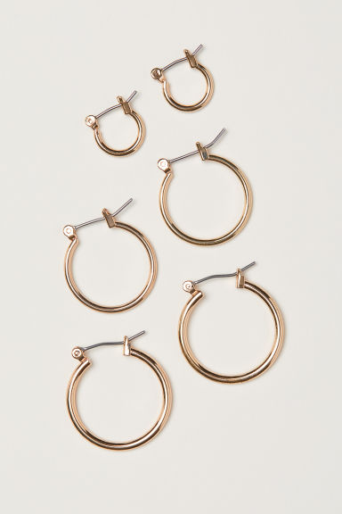 3 pairs earrings - Gold-coloured -  | H&M IN