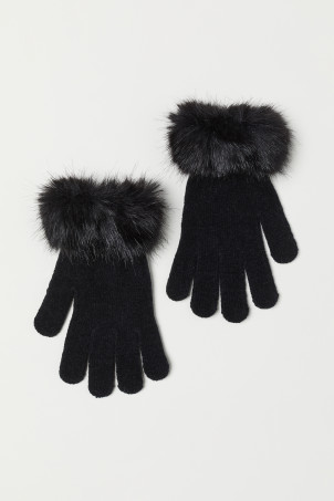 Gloves with a faux fur trim