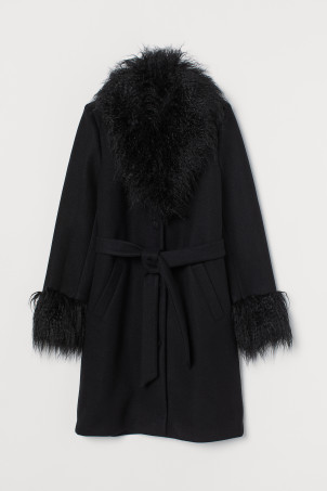 Faux fur-trimmed coat