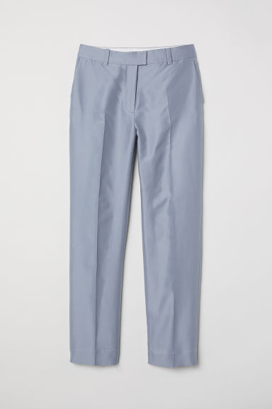 Silk-blend cigarette trousers - Light grey-blue - Ladies | H&M