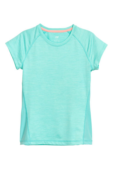 Short-sleeved sports top - Turquoise marl -  | H&M
