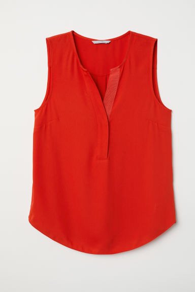 Sleeveless blouse - Red - Ladies | H&M CN