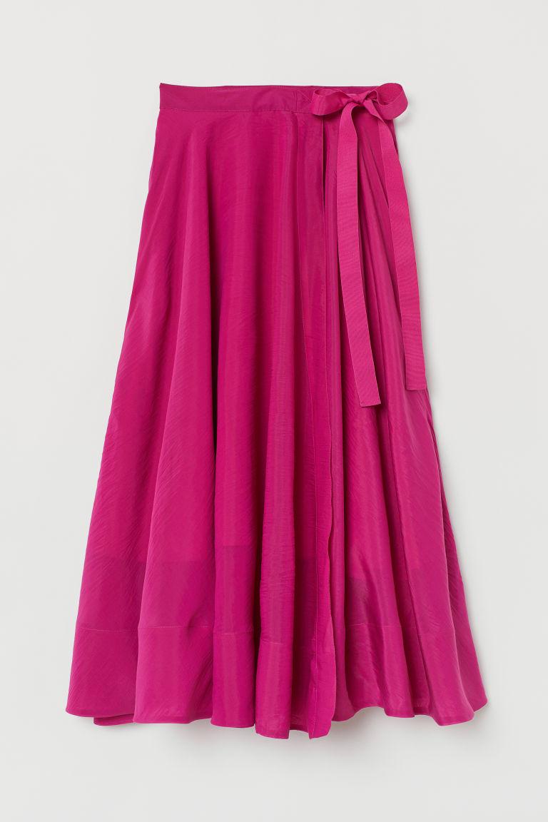 706d65b2f2 Lyocell-blend wrapover skirt - Cerise - Ladies