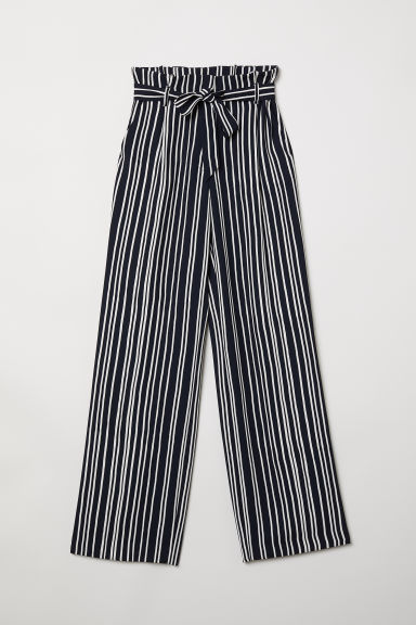 Paper bag trousers - Blue-black/White striped - Ladies | H&M