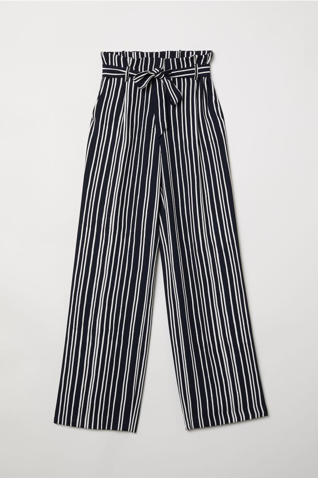 0e2d24678c Paper-bag Pants - Blue-black/white striped - Ladies | H&M US