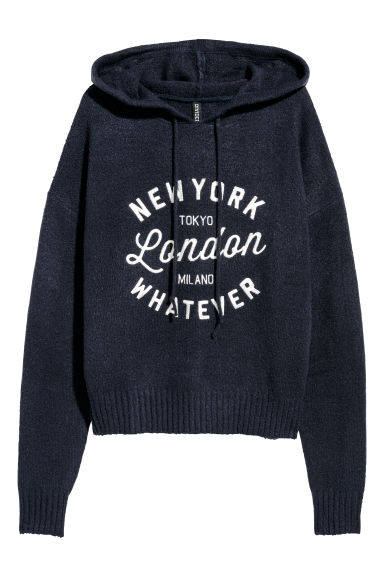Knitted hooded jumper - Dark blue -  | H&M