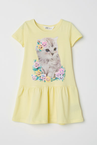Short-sleeved jersey dress - Light yellow/Cat -  | H&M