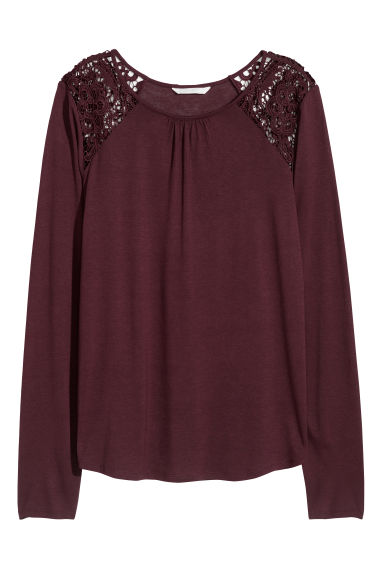 Long-sleeved top with lace - Plum - Ladies | H&M GB