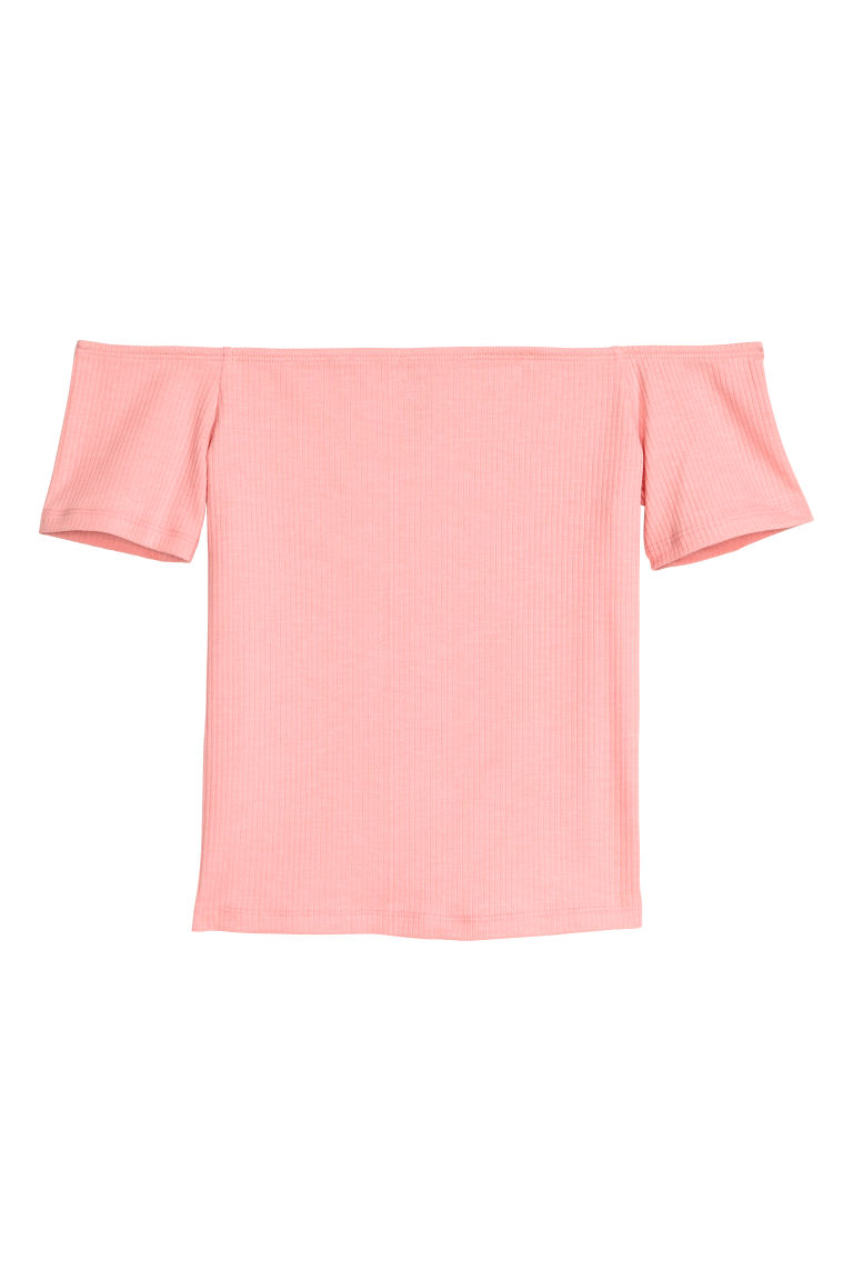Geripptes Off-Shoulder-Shirt - Hellrosa -  | H&M DE