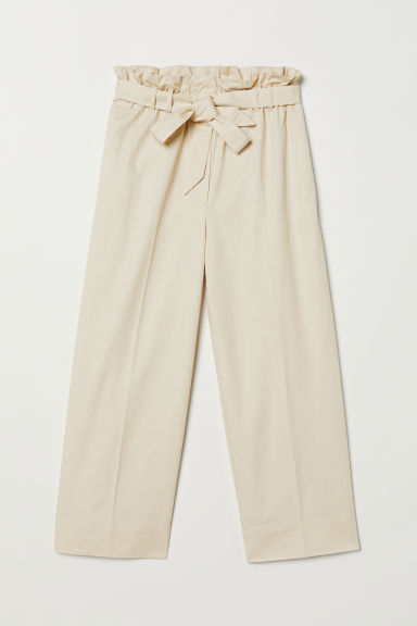 Paper bag trousers - Light beige - Ladies | H&M