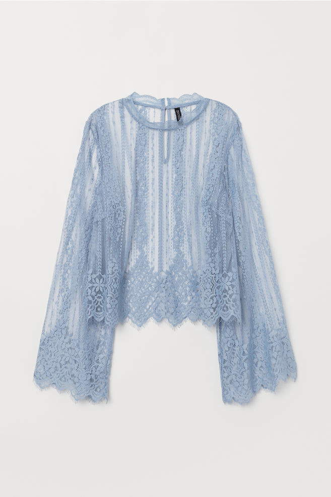 dc7be6eafd83e2 Lace Blouse - Light blue -