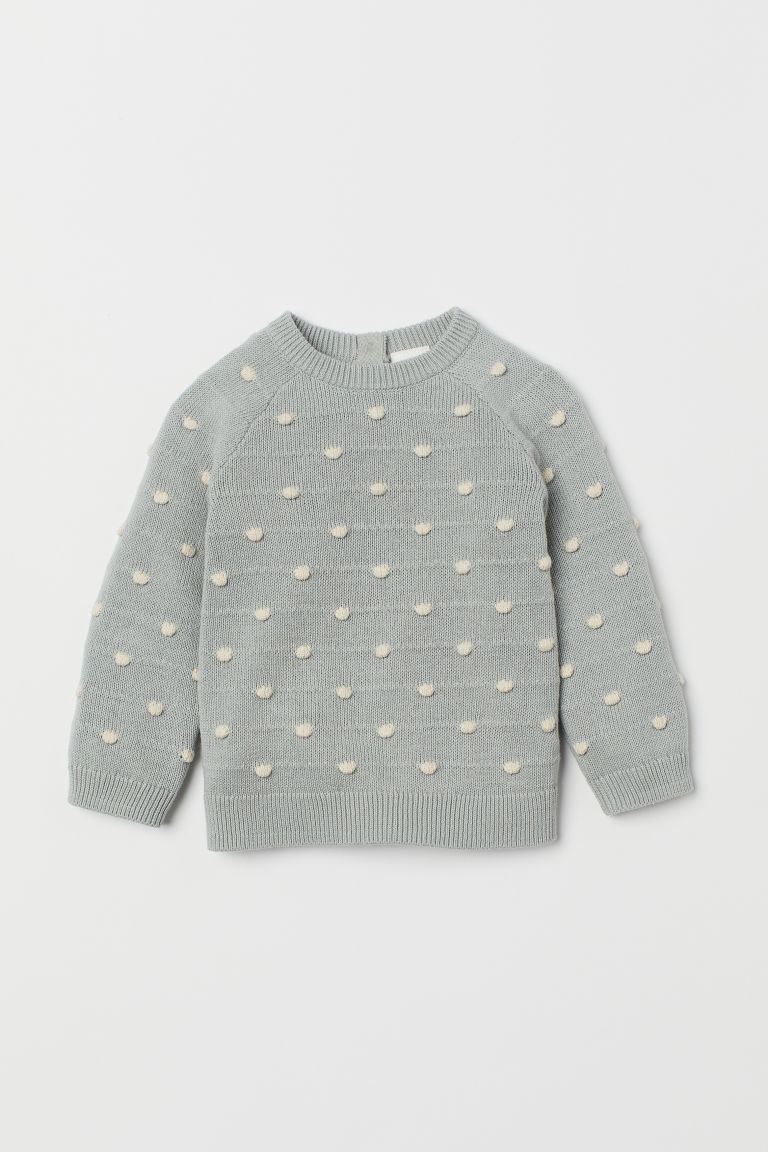 Fine-knit textured jumper - Light mint green/White spotted - Kids | H&M CN