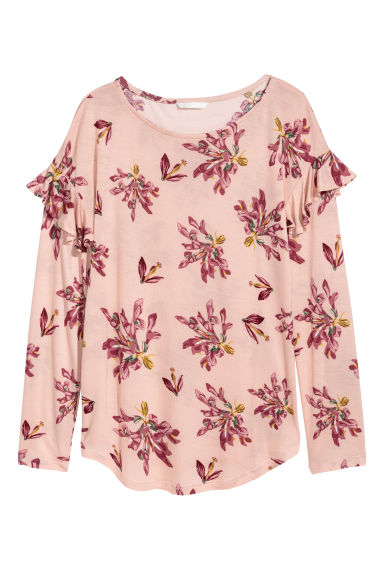 Long-sleeved flounced top - Powder pink/Floral - Ladies | H&M