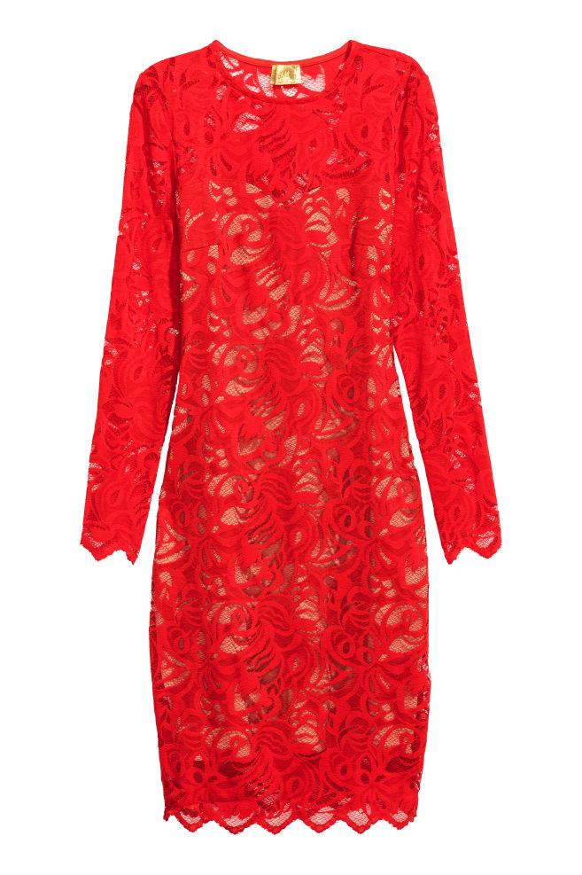55911df5 Lace dress - Bright red - Ladies | H&M 1