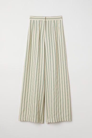 Wide trousers - Light yellow/Green striped - Ladies | H&M GB