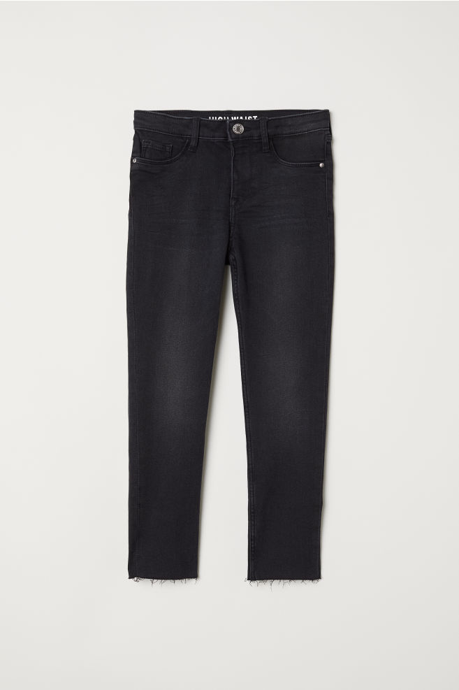 Skinny Fit High Waist Jeans - Svart - BARN  a460c6538344d