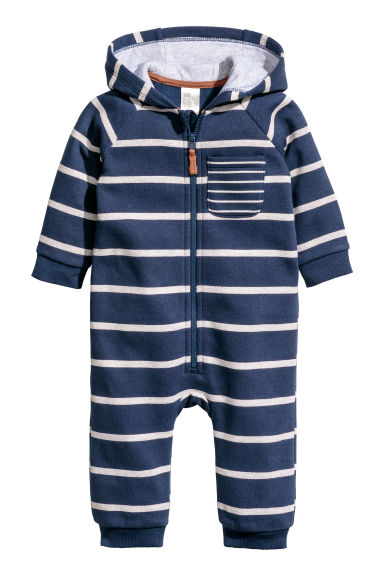 Hooded sweatshirt all-in-one - Dark blue/Striped - Kids | H&M