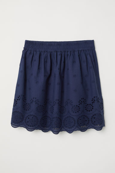 Skirt with embroidery - Dark blue -  | H&M CN