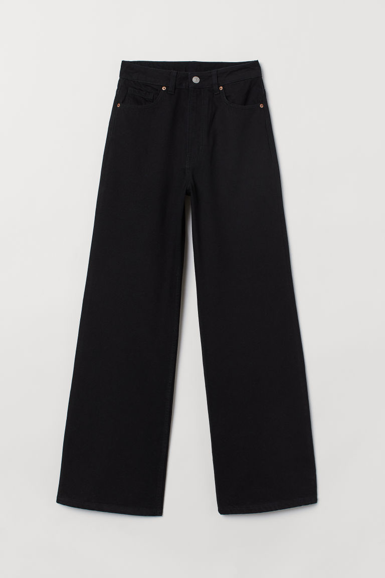 Wide High Jeans - Negro -  | H&M MX