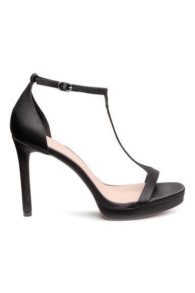 Satin sandals - Black - Ladies | H&M CN