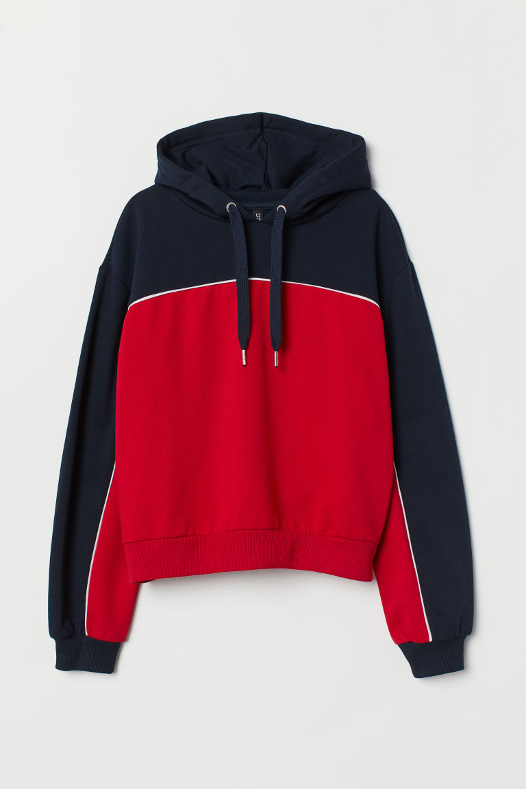 Hooded top - Red/Dark blue -  | H&M CN