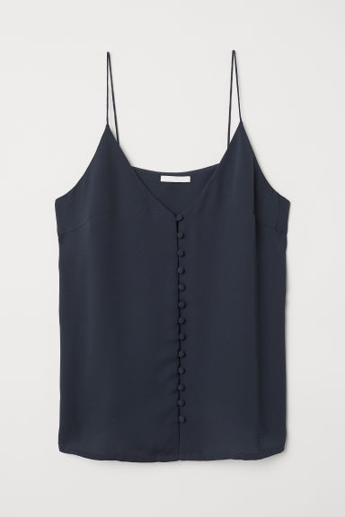 V-neck top with buttons - Black -  | H&M CN