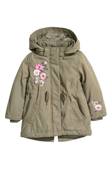 Padded parka with a hood - Khaki green/Flowers - Kids | H&M