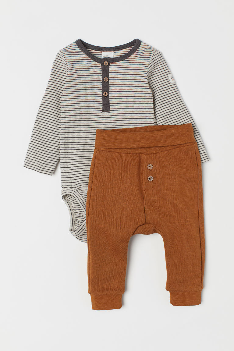 Cotton bodysuit and trousers - Camel/Striped - Kids | H&M