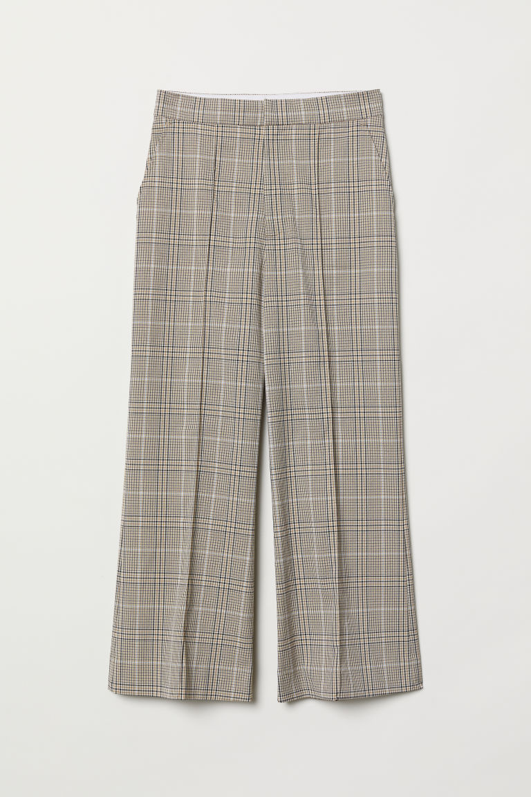 Pantaloni svasati - Beige/quadri - DONNA | H&M IT