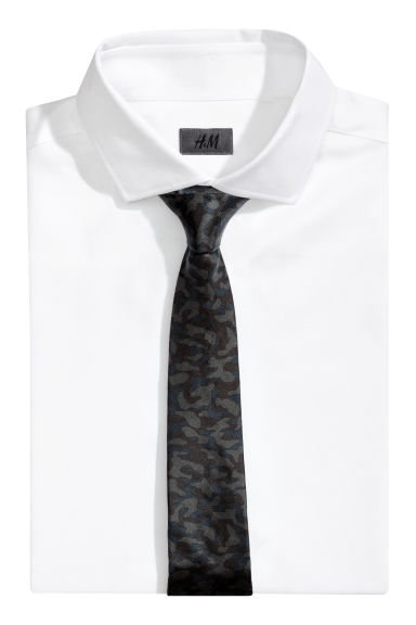 Silk tie - Black/Patterned - Men | H&M