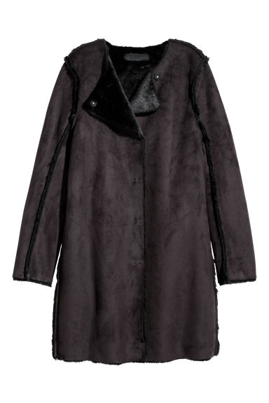 Imitation suede coat - Black - Ladies | H&M CN